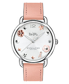 COACH Women's Delancey Pink Leather Strap Watch 36mm