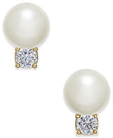 kate spade new york Gold-Toe Pavé & Imitation Pearl Stud Earrings