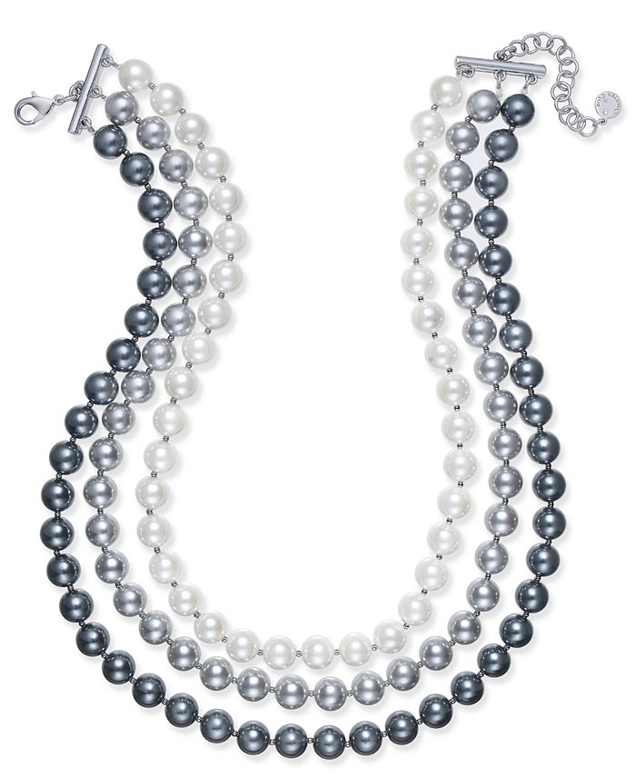 Charter Club - Imitation Pearl Ombré Three-Row Collar Necklace