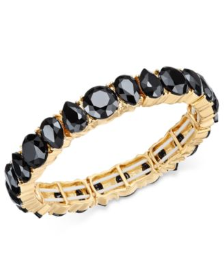 Image of Charter Club Gold-Tone Jet Stone Stretch Bracelet, Created for Macy's