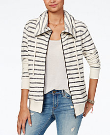 Roxy Juniors' Cotton Striped Zip-Up Sweatshirt