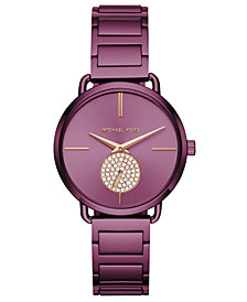 Michael Kors Women's Portia Plum Stainless Steel Bracelet Watch 37mm, Created for Macy's