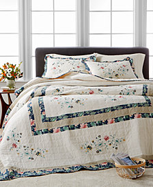 Martha Stewart Collection Embroidered Wreath Queen Bedspread, Created for Macy's