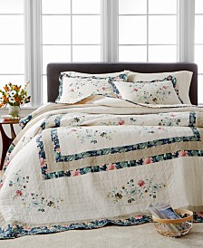 Martha Stewart Collection Embroidered Wreath King Bedspread, Created for Macy's