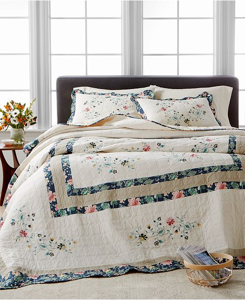 Martha Stewart Collection Embroidered Wreath Bedspread & Sham Collection, Created for Macy's