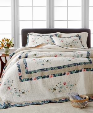 Martha Stewart Collection Embroidered Wreath Twin Bedspread Created for Macys