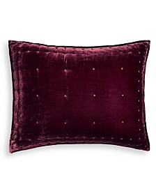 Martha Stewart Collection Red Tufted Velvet Standard Sham, Created for Macy's