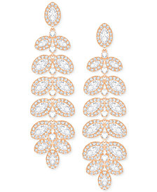 Swarovski Rose Gold-Tone Crystal & Pavé Drop Earrings