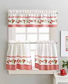 "Curtainworks Strawberry Field 36"" Tier & Valance Set"