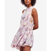 Free People She Moves Printed Lace-Trim Slip Dress