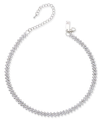 I.N.C. Silver Tone Multi Crystal Choker Necklace, Created For Macy's by Inc International Concepts
