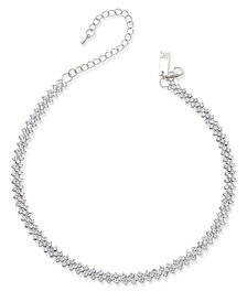 I.N.C. Silver-Tone Multi-Crystal Choker Necklace, Created for Macy's