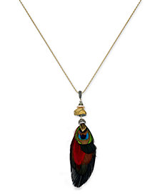 Paul & Pitü Naturally Gold-Tone Stone & Feather Long Pendant Necklace