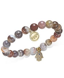 Paul & Pitü Naturally Gold-Tone Agate Beaded Charm Stretch Bracelet