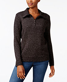 Karen Scott Mock-Neck Quarter-Zip Sweater, Created for Macy's
