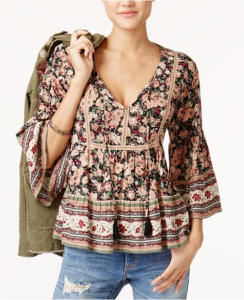 8f4cadb6c1cca ... American Rag Juniors' Floral-Print Babydoll Top, Created for Macy's ...