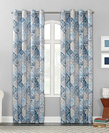 "Lawson 54"" x 84"" Distressed Global Tile-Print Curtain Panel"