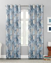 Sun Zero Lawson Distressed Global Tile-Print Grommet Curtain Panel Collection
