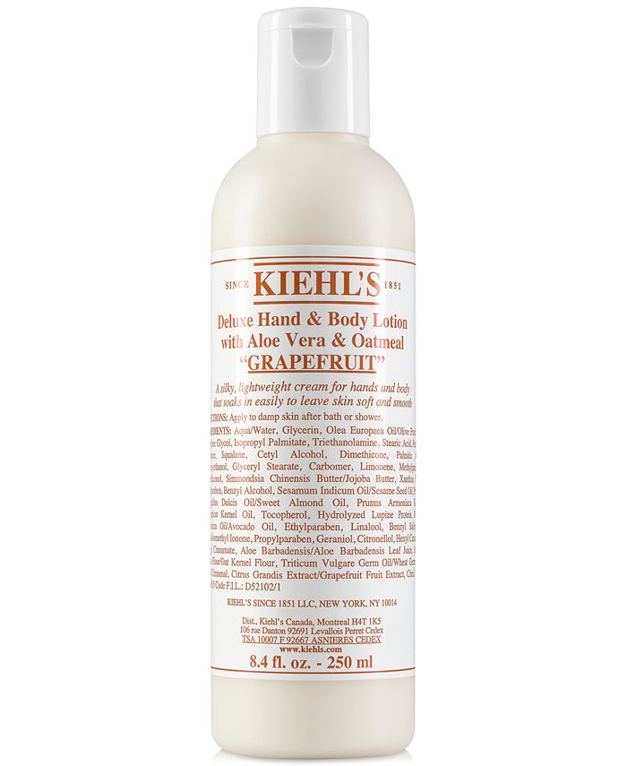 Kiehl's Since 1851 - Deluxe Hand & Body Lotion With Aloe Vera & Oatmeal - Grapefruit, 8.4-oz.