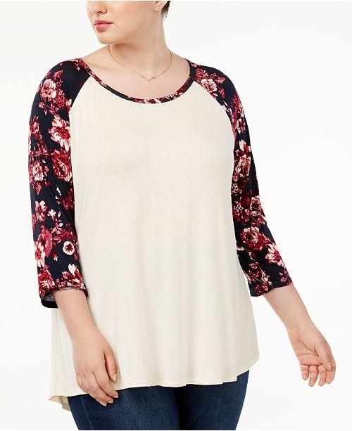 Eyeshadow Trendy Plus Size Baseball T-Shirt