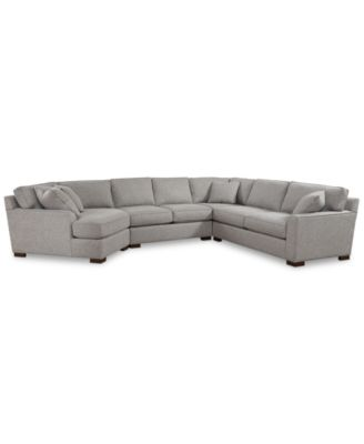 Carena 4-Pc. Fabric Sectional with Armless Loveseat and Cuddler Chaise, Created for Macy's