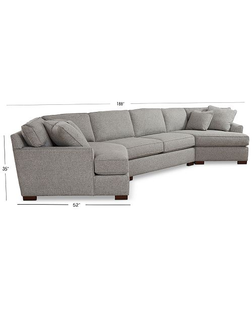 Furniture Carena 3-Pc. Fabric Sectional With Apartment