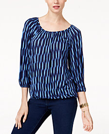 MICHAEL Michael Kors Printed Peasant Top, In Regular & Petite Sizes