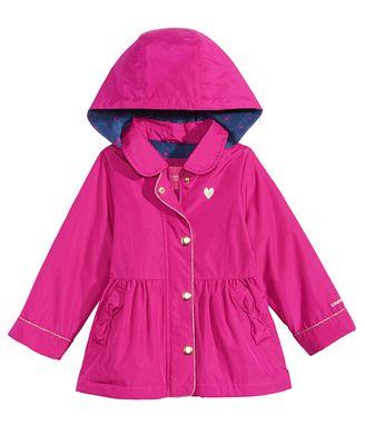 London Fog Hooded Peplum Rain Jacket, Toddler Girls (2T-5T ...