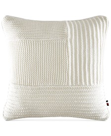 "Tommy Hilfiger Waffle-Knit 18"" Square Decorative Pillow"