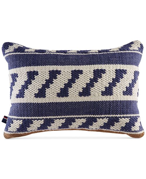 "Tommy Hilfiger Cotton Ikat 12"" x 18"" Decorative Pillow"