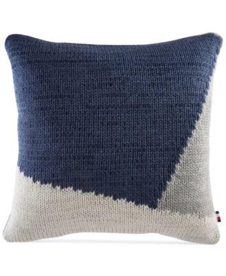 "Colorblocked Knit 18"" Square Decorative Pillow"
