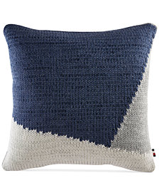 "Tommy Hilfiger Colorblocked Knit 18"" Square Decorative Pillow"