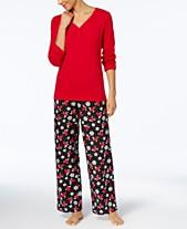 90dbee3c5423f Charter Club Flannel Mix It Top   Printed Pants Pajama Set