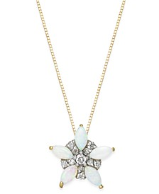 Opal (5/8 ct. t.w.) & Diamond (1/10 ct. t.w.) Pendant Necklace in 14k Gold