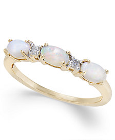Opal (5/8 ct. t.w.) & Diamond Accent Ring in 14k Gold