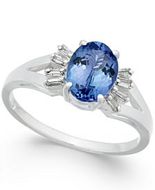 Tanzanite (1-3/8 ct. t.w.) & Diamond (1/8 ct. t.w.) Ring in 14k White Gold