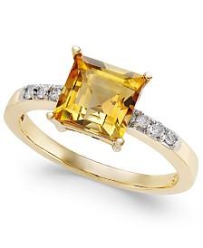 Citrine (1-3/4 ct. t.w.) & Diamond (1/10 c.t.t.w.) Ring in 14k Gold