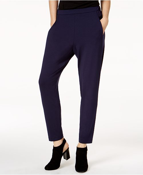 Eileen Fisher Stretch Jersey Pull-On Slouchy Ankle Pants, Regular & Petite