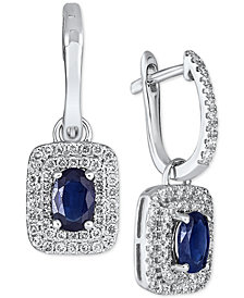 Sapphire (2-1/10 ct. t.w.) & Diamond (3/5 ct. t.w.) Halo Drop Earrings in 14k White Gold