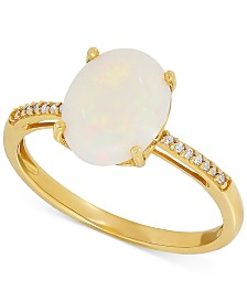 Opal (1-5/8 ct. t.w.) & Diamond Accent Ring in 14k Gold