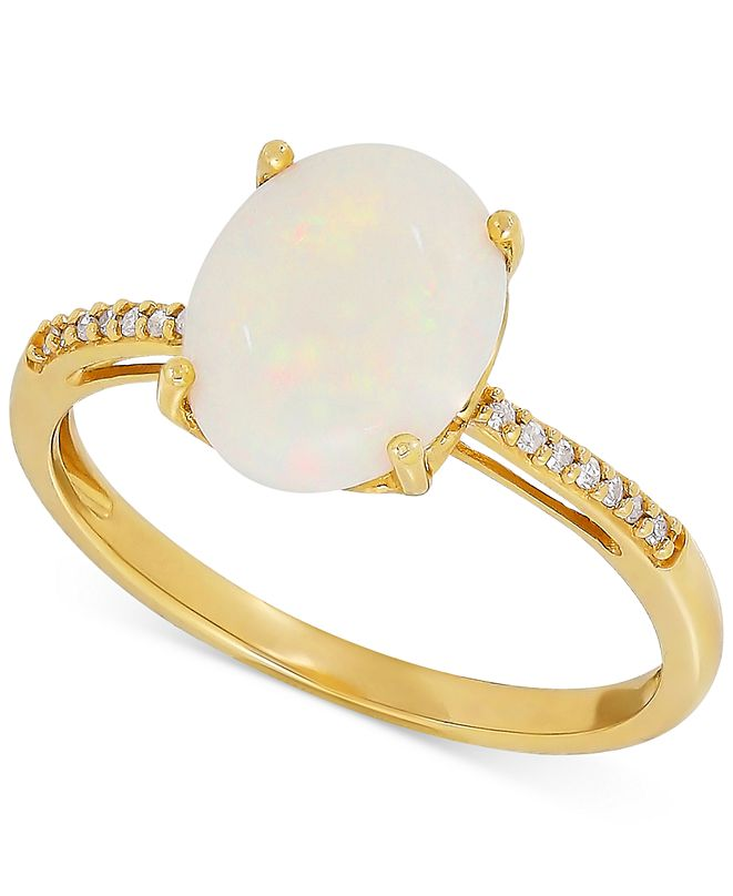 Macy's Opal (1-5/8 ct. t.w.) & Diamond Accent Ring in 14k Gold