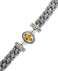 EFFY® Citrine Braided Bracelet (5-3/8 ct. t.w.) in Sterling Silver & 18k Gold