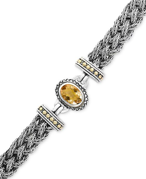 EFFY Collection EFFY® Citrine Braided Bracelet (5-3/8 ct. t.w.) in Sterling Silver & 18k Gold