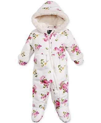 S. Rothschild Hooded Floral-Print Footed Pram Snowsuit ...