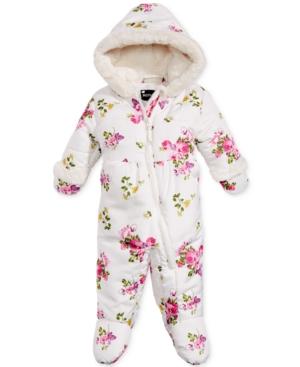 S Rothschild Hooded FloralPrint Footed Pram Snowsuit with FauxFur Trim Baby Girls (024 months)