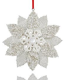 Holiday Lane White Glitter Flower Ornament, Created for Macy's