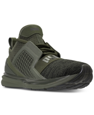 7f14277fd PUMA Men'S Ignite Limitless Knit Casual Sneakers From Finish Line, Olive  Night- Black