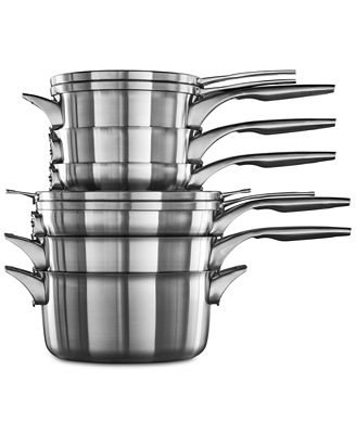 Calphalon Premier 10 Pc Space Saving Stainless Steel Cookware Set