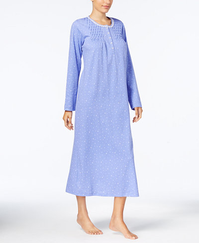 Charter Club Printed Smocked Cotton Nightgown, Created for Macy's