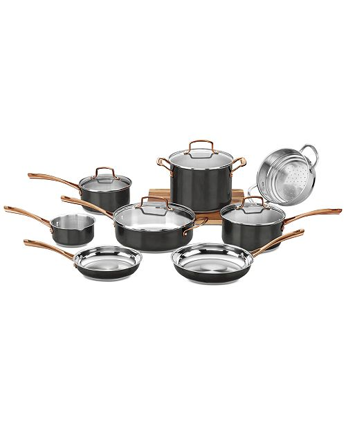 Onyx Black & Rose Gold 12-Pc Stainless Steel Cookware Set, Created for  Macy\'s